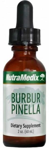 Schlanke Flasche mit Nutramedix Burbur und Pinella Tropfen 60ml zur Stärkung der Entgiftungsorgane