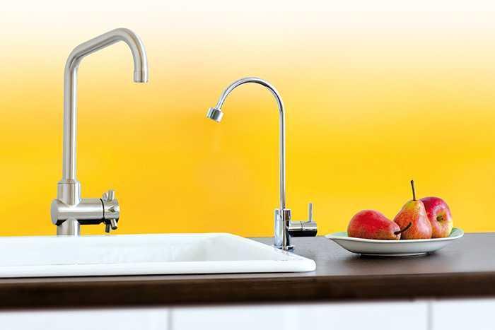 Spülenbereich in der Küche mit zwei Wasserhähnen: einer für das Brauchwasser, der zweite für das gefilterte Wasser