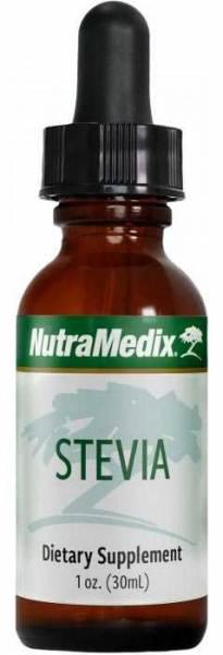 Schlanke Flasche mit 30ml Nutramedix Stevia Tropfen, bei Bluthochdruck und Diabetes