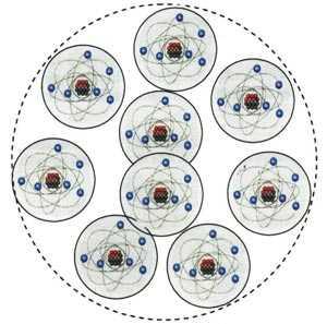 Man sieht ein Molekül aus 9 Atomen, jedes mit kreisenden Elektronen