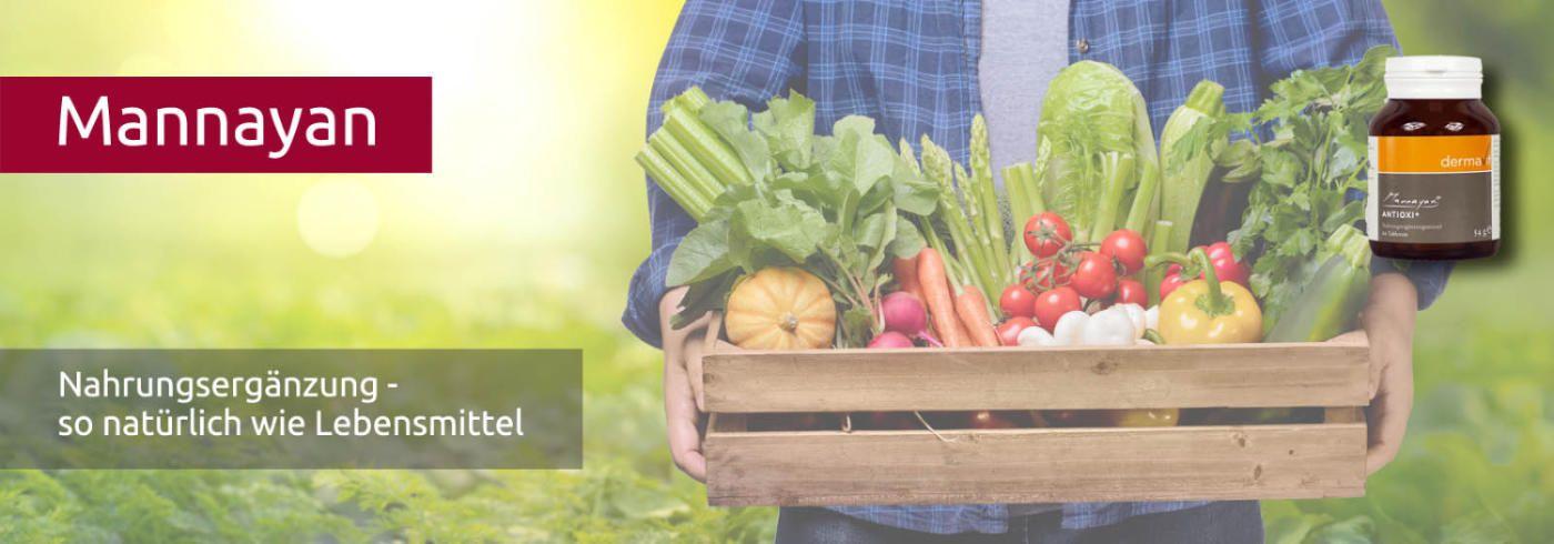 Die Mannayan Reihe - mit hoher Bioverfügbarkeit - Eine Holzkiste voller Gemüse