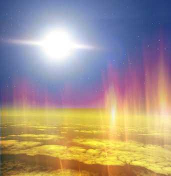 Man sieht die Sonne, den Weltraum und die Ozonschicht um die Erde