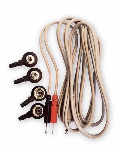 Ein beiges Kabel mit rotem und schwarzem Stecker für die Frequenztherapie mit Diamond Shield Zapper. Vier Druckknopf-Adapter werden auch mitgeliefert (4mm und 10mm), damit das Kabel zu allen Zubehörteilen passt.