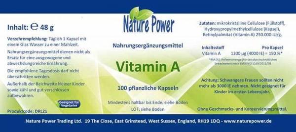 Vorschau: Vitamin A von Nature Power - Produktdetails auf dem Etikett