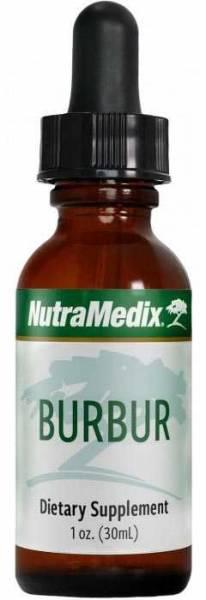 Schlanke Flasche mit Nutramedix Burbur Tropfen 30ml