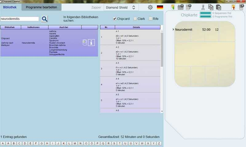 Screenshot der PC-Software Chipcard-Creator
