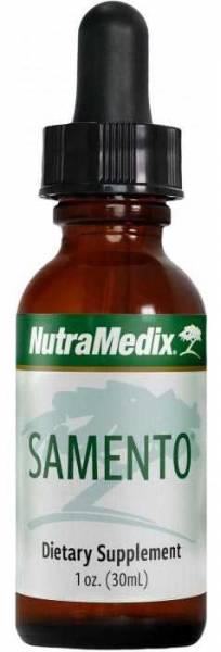 Schlanke Braunglas-Flasche Samento Nutramedix Tropfen 30ml als Antioxidans