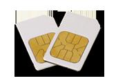 Man sieht zwei Frequenz Chipcards