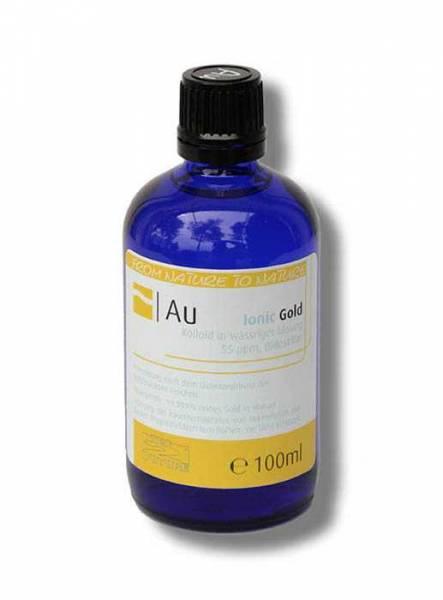 Blaue Glasflasche mit gelb-weissem Etikett. Kolloidales Gold hochkonzentriert mit 55ppm