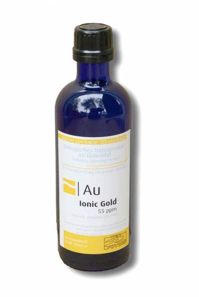 Vorschau: Blaue Glasflasche mit gelb-weissem Etikett Ionic Gold. Hoher Ionenanteil und kleine Partikelgröße