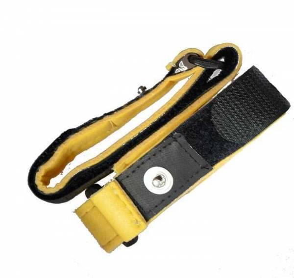 Vorschau: Zwei gelb-schwarze Armgelenkbänder mit 4mm-Druckknopf-Anschluss