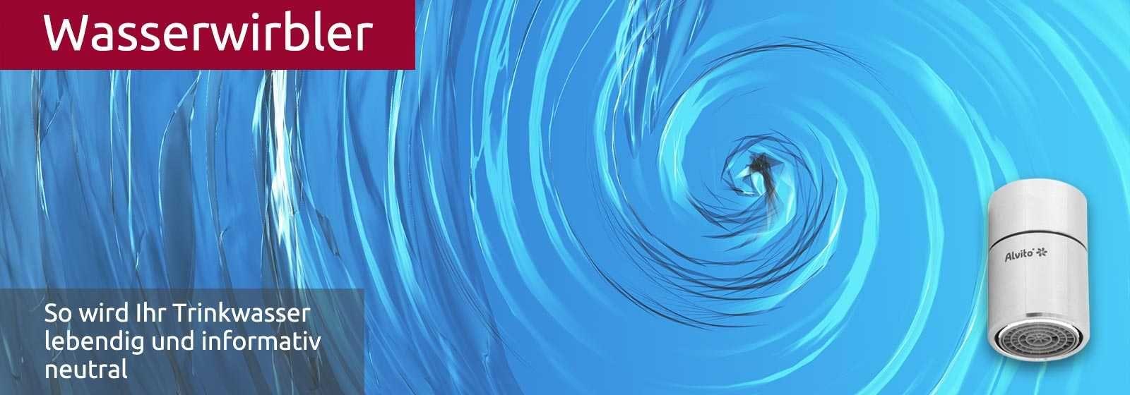 Ein Wasserstrudel von oben gesehen. So verwirbelt der Wasserwirbler von Alternativ Gesund das Wasser und reinigt es so informativ