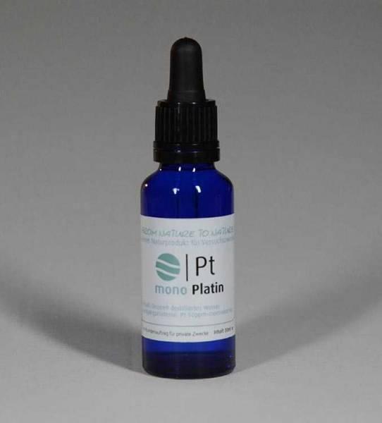 Vorschau: Blaue Glasflasche mit der Aufschrift Monoatomisches Platin 30 Milliliter - aus kolloidalem Platin mit 50ppm hergestellt
